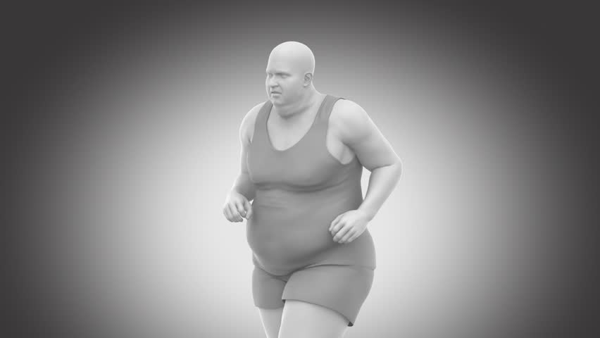 Obese overweight man to slim - healthy lifestyle concept with  alpha channel