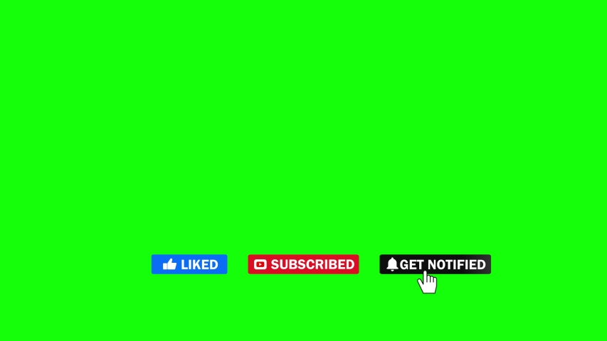 Editorial Footage: Animation of a Subscribe and Likes and Notification Button for Youtube. Green screen.