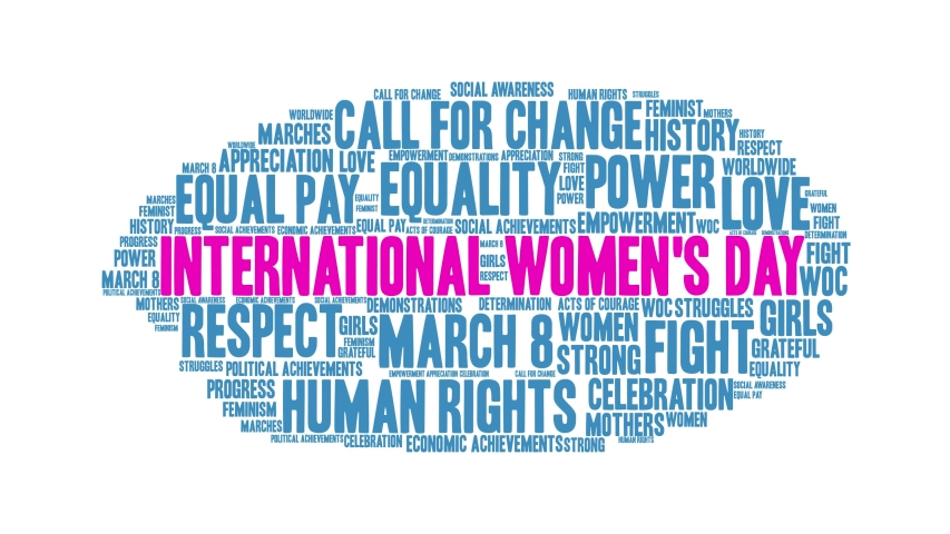 International Women's Day word cloud on a white background. Royalty-Free Stock Footage #1048177213