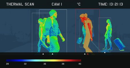 View of a screen showing video from thermal imaging camera, detecting elevated body temperature of people walking in the airport or train station. Custom designed interface