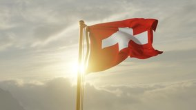 Flag of Switzerland Waving in the wind, Sky and Sun Background, Slow Motion, Realistic Animation, 4K UHD 60 FPS Slow-Motion