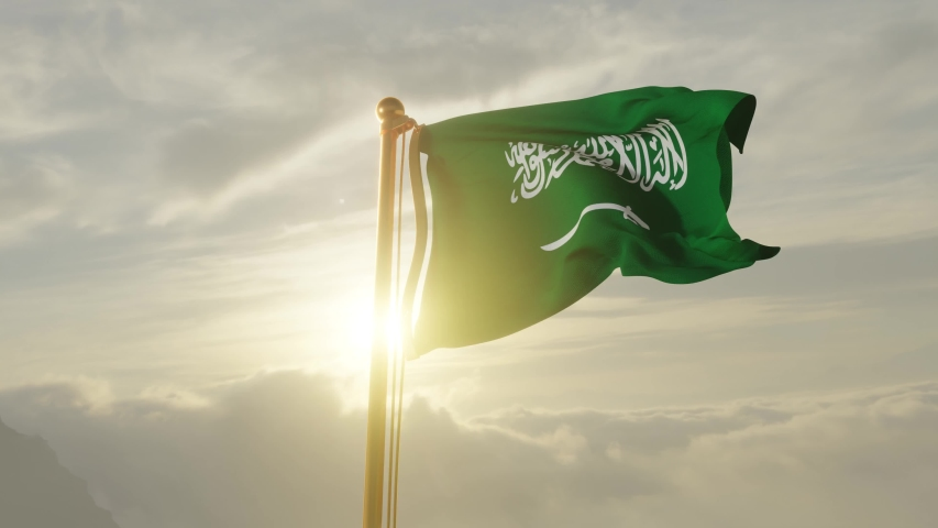 Flag of Saudi Arabia Waving in the wind, Sky and Sun Background, Slow Motion, Realistic Animation, 4K UHD 60 FPS Slow-Motion Royalty-Free Stock Footage #1048198228