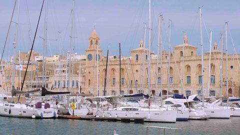 Valletta Grand Harbour district on a sunny day - VALLETTA, MALTA - MARCH 5, 2020