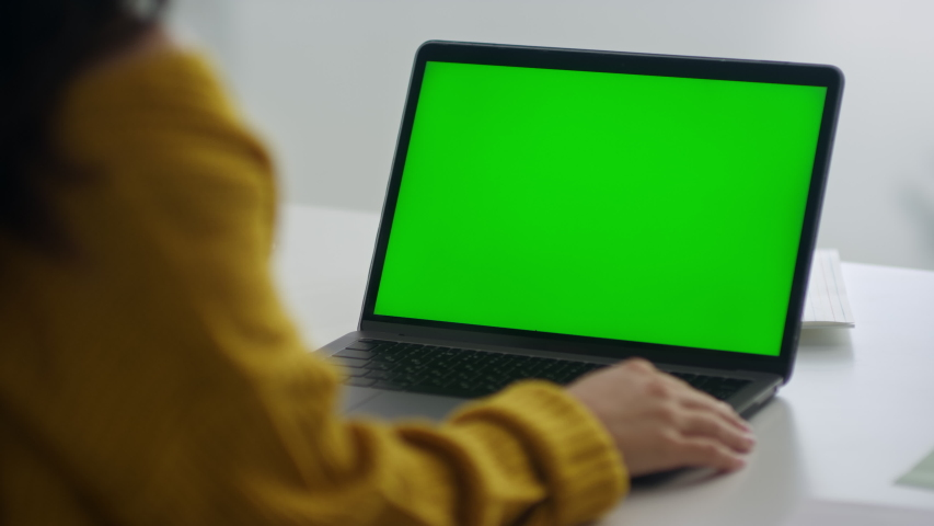 Back view unrecognized woman looking green screen laptop computer in office. Female freelancer reading news on computer. Close up of businesswoman working notebook at remote workplace. Royalty-Free Stock Footage #1048219351