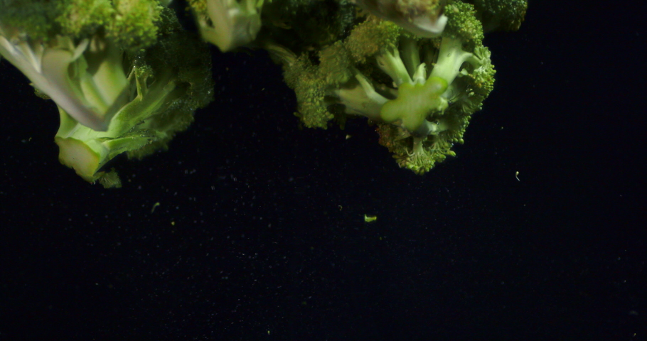 Fall fresh broccoli in the water. On a black background.   Shutterstock HD Video #1048232107