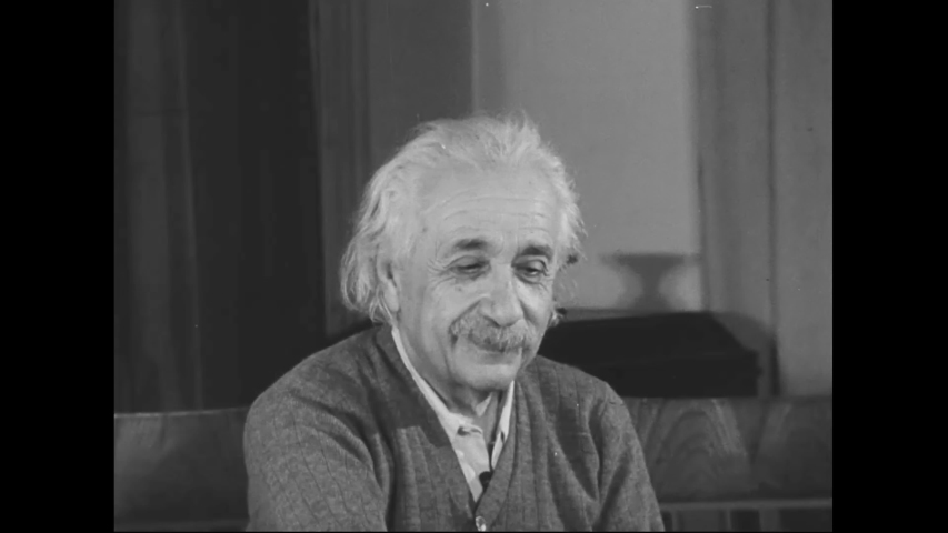 CIRCA 1950s - Albert Einstein American scientist and mathematician smiles and looks at the camera in this good portrait.