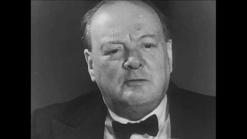 CIRCA 1940s - Winston Churchill speaks about World War two building solidarity between men of all lands who have marched together to war.