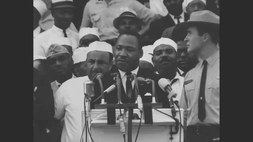 CIRCA 1963 - Dr. Martin Luther King gives his I Have A Dream speech at the Lincoln Memorial at the March on Washington for Jobs and Freedom.
