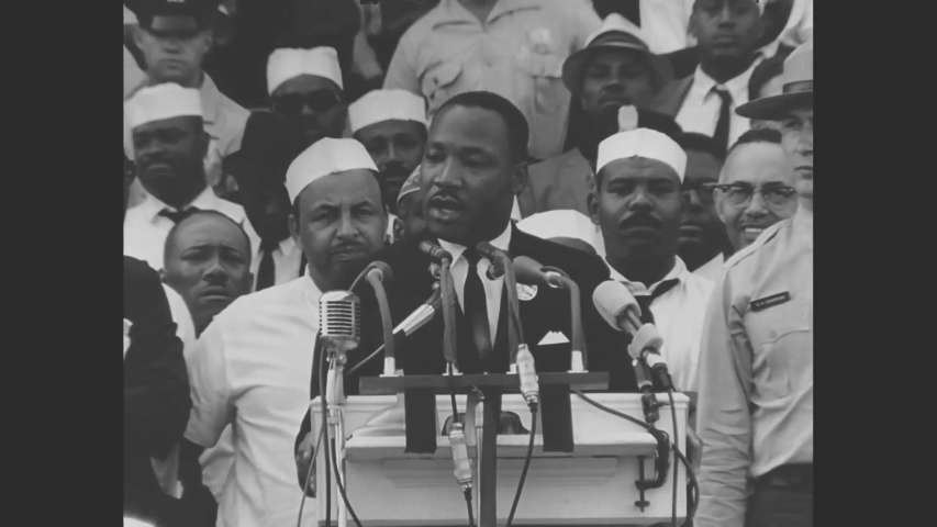 CIRCA 1963 - Dr. Martin Luther King gives his I Have A Dream speech at the Lincoln Memorial during the March on Washington for Jobs and Freedom.