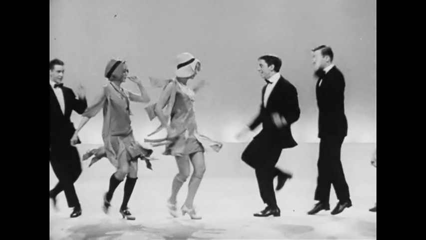CIRCA 1950s - A 1950s dance troupe reimagines the Charleston dance of the 1920s on a broadway stage.