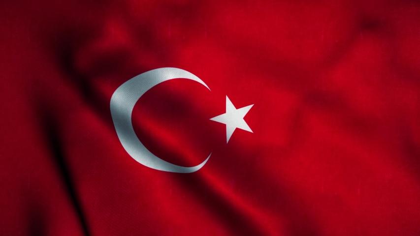 Turkey flag waving in the wind. National flag of Turkey. Sign of Turkey seamless loop animation. 4K
