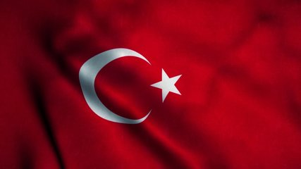 Turkey flag waving in the wind. National flag of Turkey. Sign of Turkey seamless loop animation. 4K