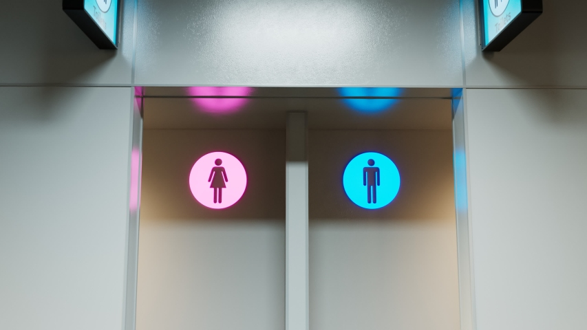 Toilets entrance. Man and woman section. Pink and blue. WC sign. Public place like airport terminal, hospital, bus or train station and any other type. Clean. Zooming-in front camera. Indoor. Corridor | Shutterstock HD Video #1048297816