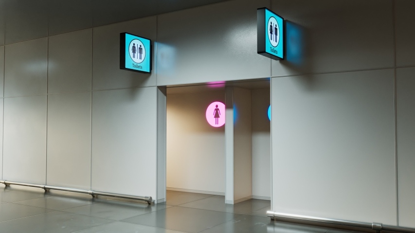 Toilets entrance. Man and woman section. Pink and blue. WC sign. Public place like airport terminal, hospital, bus or train station and any other type. Clean. Heading camera. Indoor. Corridor  | Shutterstock HD Video #1048297819