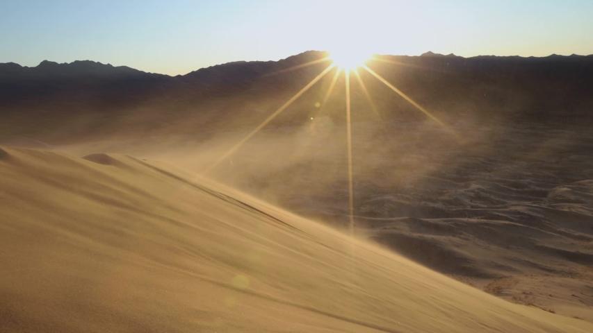 Heavy winds blowing desert sands