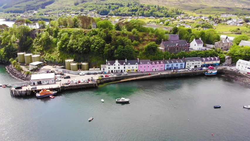 Aerial view of Portree, Isle of Skye, Scotland | Shutterstock HD Video #1048332640