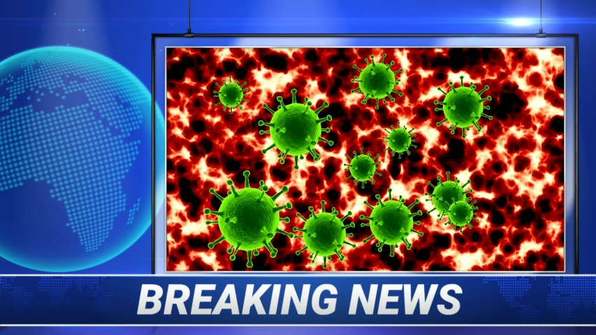 Breaking News Concept. Viral Virus. Coronavirus (COVID-19) medical animation. The virus model is realistic. Infected blood cells