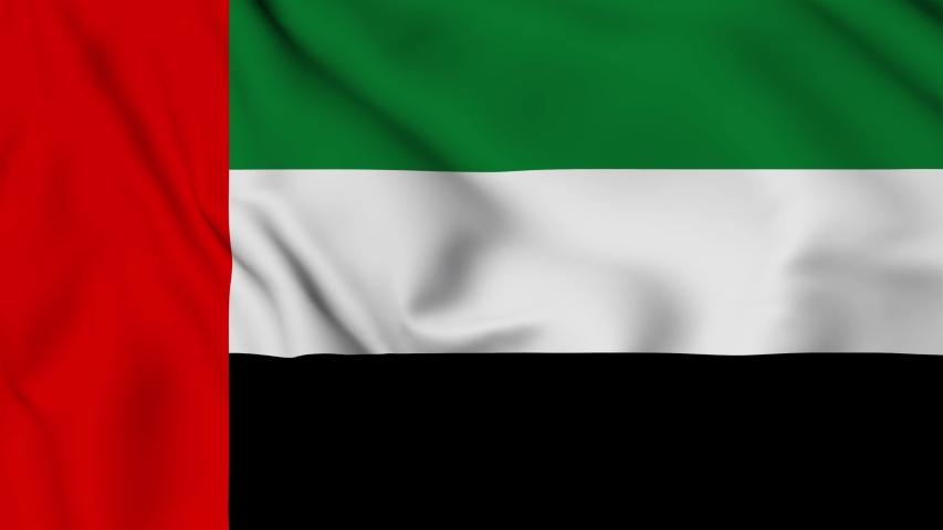 uae flag is waving 3D animation. United Arab emirates flag waving in the wind. National flag of UAE . Sign of dubai seamless loop animation. 4K