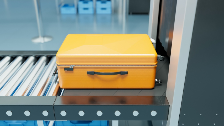 Airport Security Control. Luggage scanning. Dangerous items detection. Scanners sends X-rays to detect the type and thickness of objects inside suitcases or bags. Terrorism avoiding. Yellow. Front