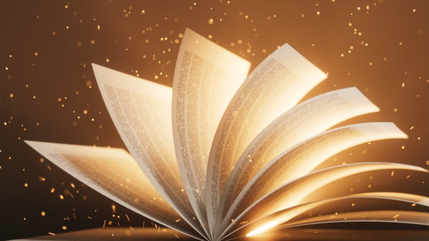 Seamlessly looping animation of page-turning of a book. Perfect for learning, wisdom and magic. Symbolizing book as the never-ending stream of knowledge. Lights, particles, glow.  | Shutterstock HD Video #1048368664