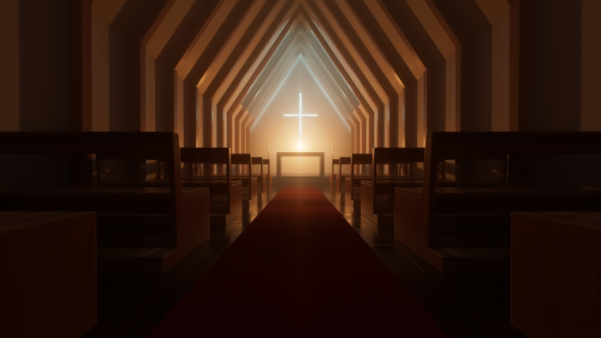 Modern minimalistic church or chapel interior during night or evening. Two rows of empty wooden pews. Simple alar at the center. Place of worship with cross on the wall. Christianity, religion concept