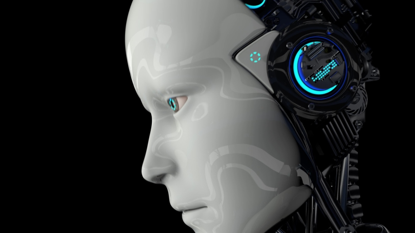 Robot android is activated and raises its head. The camera flies around. On a black background. 4K. 3D animation. | Shutterstock HD Video #1048375810