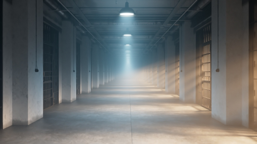 Front view at never-ending prison corridor. Surrounded by prison cells. Gloomy mood. Fog, rays, daylight. Walk-through the gaol. Crime. Interrogation. Justice. Separated cell. One person. Guard. Walk  Royalty-Free Stock Footage #1048379101