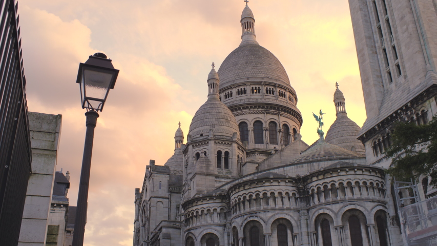 Sacre Coeur Basilica Famous landmark in Paris Montmartre district at Sunset 4K