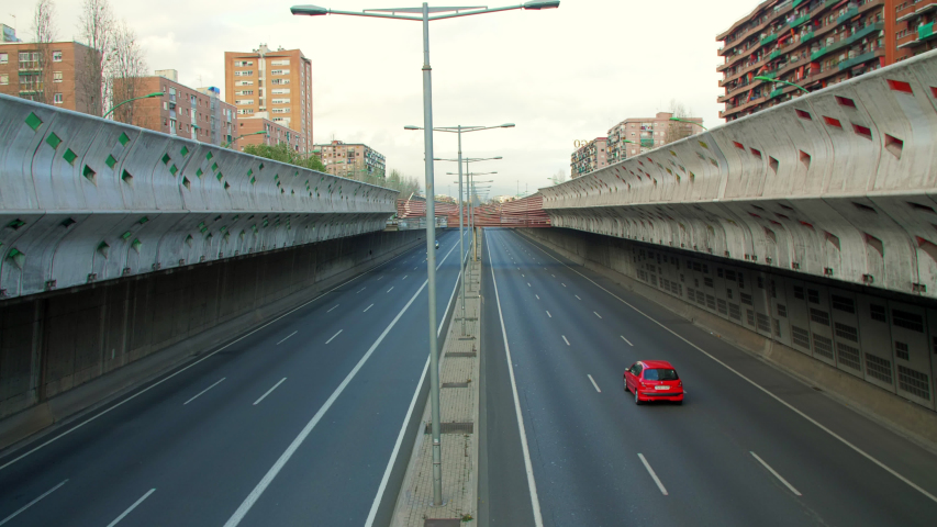 Barcelona, Spain. March 15th 2020: State of Alarm due to Coronavirus in Spain. Empty Gran Via Highway in Barcelona