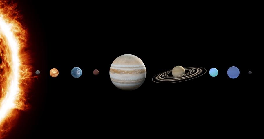 Planet solar system. 3D render, 3D graphics. Sun, Mercury, Venus, Earth, Mars, Jupiter, Saturn, Uranus, Neptune, Pluto | Shutterstock HD Video #1048449502