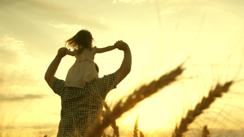 Happy child and father are playing in field of ripening wheat. little daughter on fathers shoulders. baby boy and dad travel on field. kid and parent play in nature. happy family and childhood concept | Shutterstock HD Video #1048451293