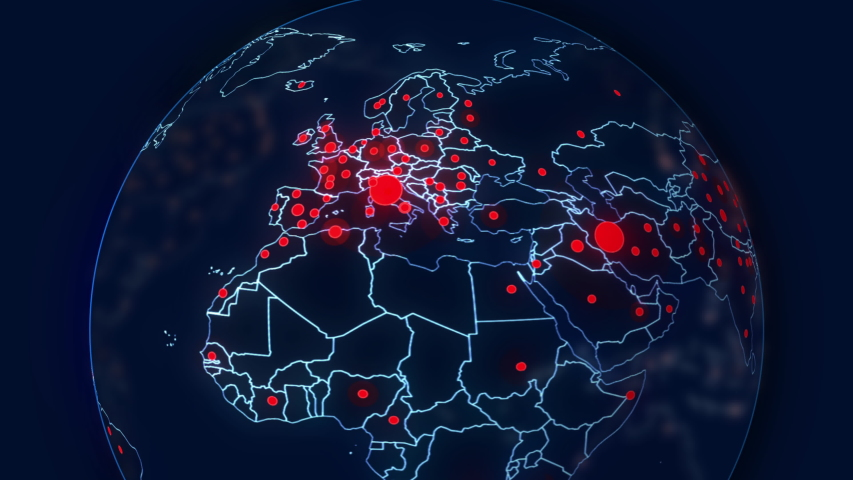 Coronavirus Earth Globe Map based on real data that shows the pandemic spreading to Europe | Shutterstock HD Video #1048480963