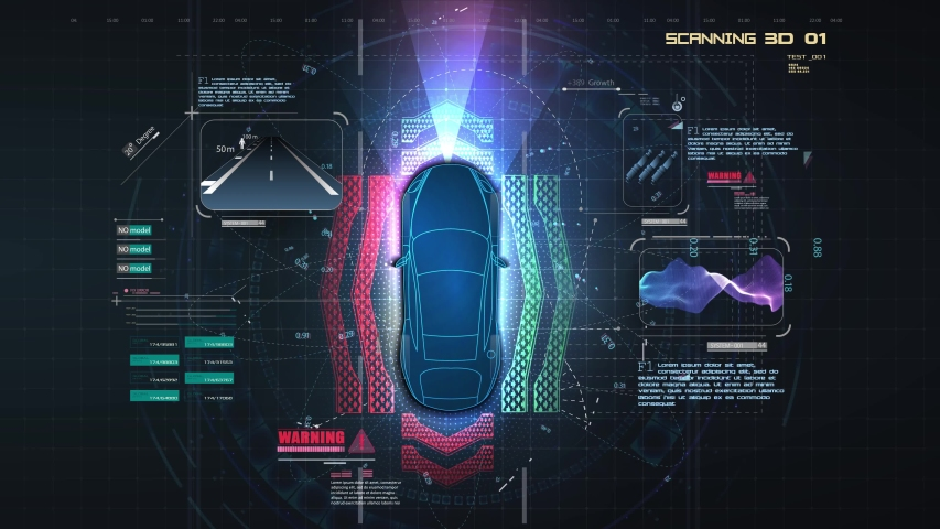 Automatic braking system avoid car crash from car accident. Concept for driver assistance systems. Autonomous car. Driverless car. Self driving vehicle. Future concepts smart auto. HUD, GUI, hologram