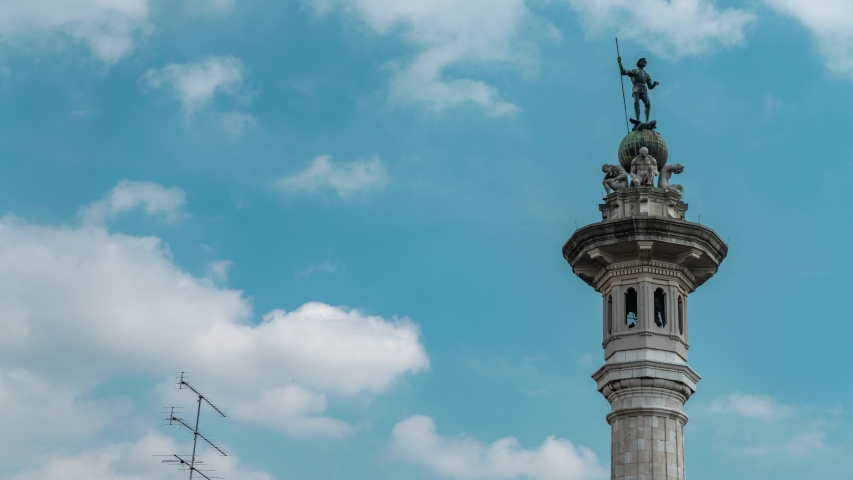 Timelapse of San Giorgio bell tower with its statues on top in Pordenone, Italy Royalty-Free Stock Footage #1048498189