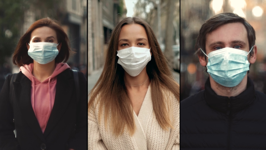 Group of people in masks, collage citizens Virus mask on street wearing face protection in prevention for coronavirus covid 19. public space on second wave covid quarantine Royalty-Free Stock Footage #1048545433