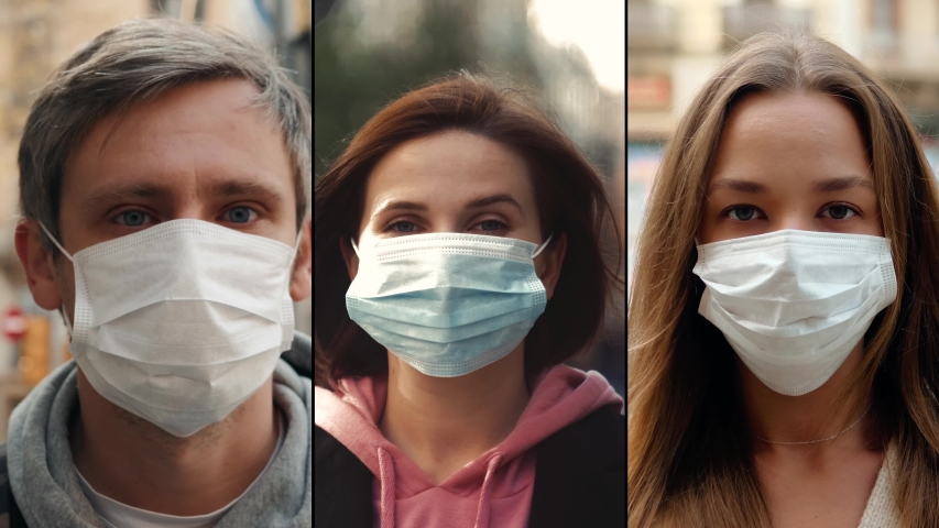 Group of people in masks, collage citizens Virus mask on street wearing face protection in prevention for coronavirus covid 19. public space on quarantine Royalty-Free Stock Footage #1048545436