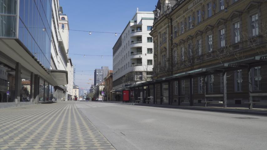 Ljubljana / Slovenia - March 2020: Coronavirus COVID 19 quarantine, empty capital city of Ljubljana (Slovenia, Europe). Empty BUS stops, no passengers.
