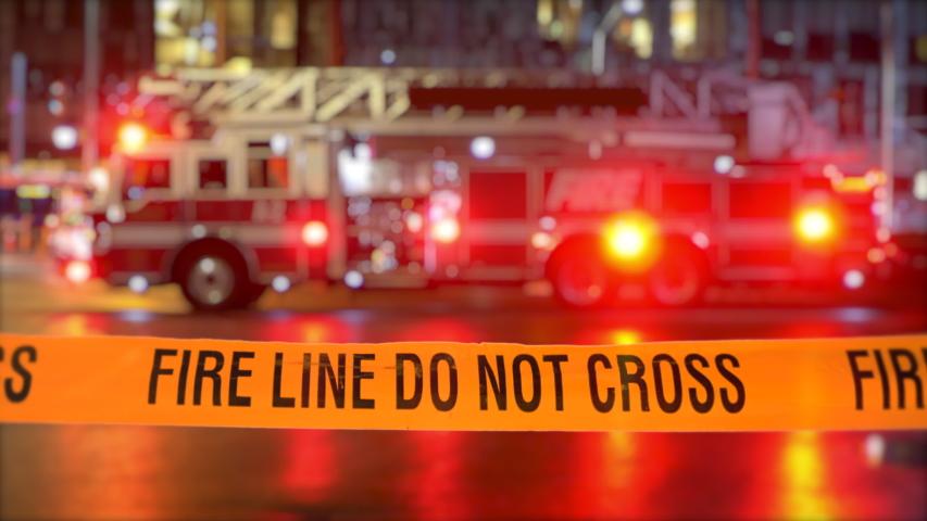 Emergency Fire Truck Rescue, Red Light Fireman Vehicle Danger Scene Fire Line Royalty-Free Stock Footage #1048586056