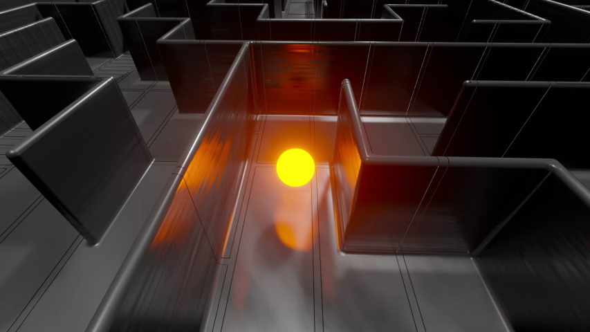 3D Visualization of a sphere finding its way in a labyrinth | Shutterstock HD Video #1048602862