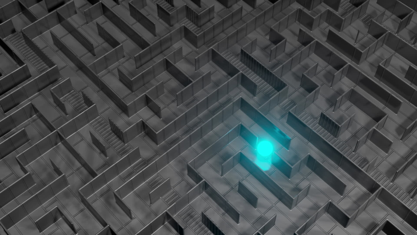 3D Visualization of a sphere finding its way in a labyrinth | Shutterstock HD Video #1048602868