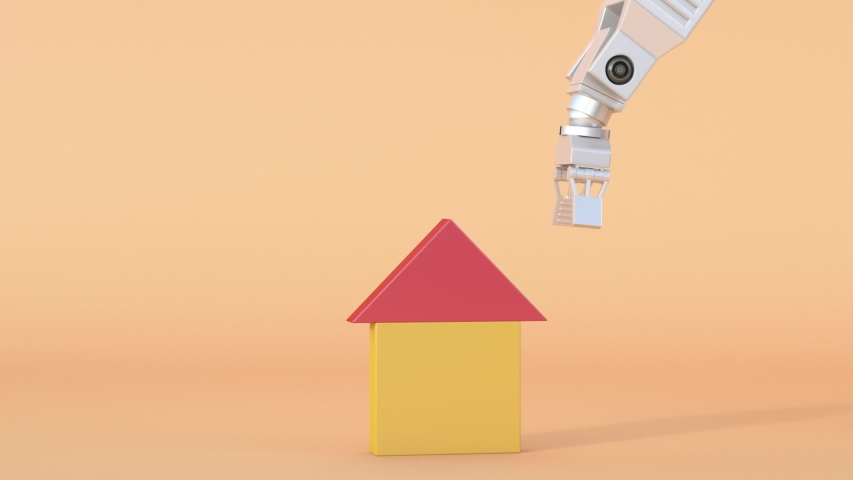 Grapping claw building a house, 3D Rendering | Shutterstock HD Video #1048603375