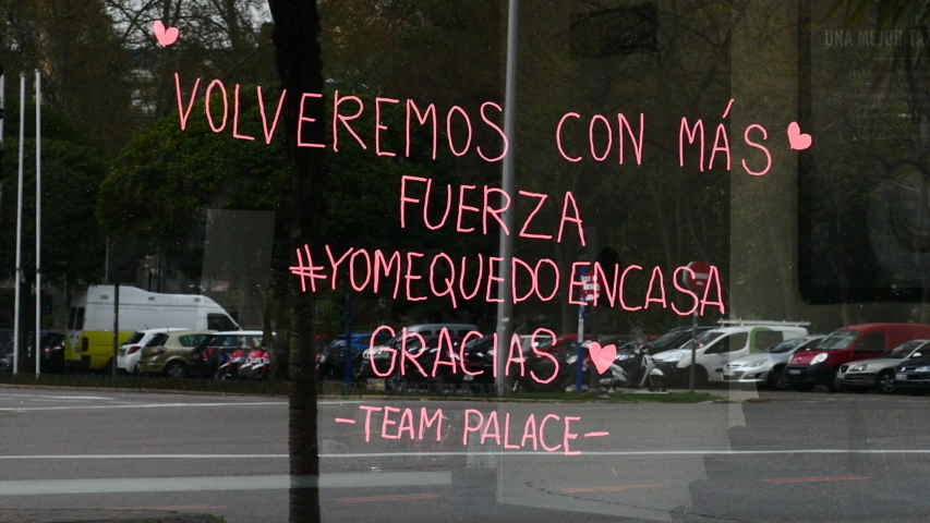 Message written on the facade of a Madrid restaurant closed by the state of alarm in Spain by COVID-19. Filmed on March 18, 2020.