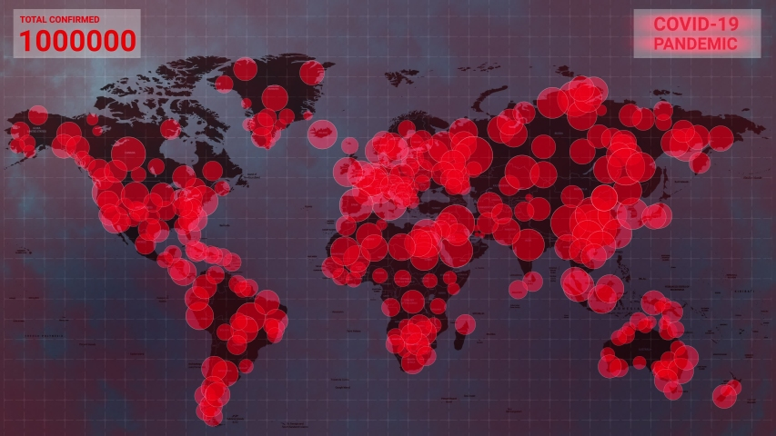 COVID-19 coronavirus Global pandemic map. Statistiks of Pandemic of coronavirus in China. Map of coronavirus spreading from Wuhan. MERS-Cov animation. Future Danger of Coronavirus. Royalty-Free Stock Footage #1048625137