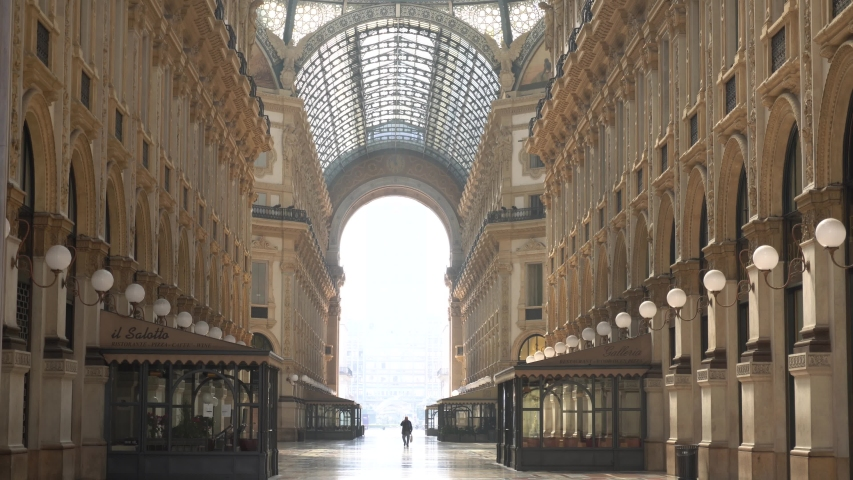 Europe, Italy Milan march 2020 - Duomo Cathedral, Vittorio Emanuele Gallery  empty of people and tourist,  n-cov19 Coronavirus epidemic - lockdown