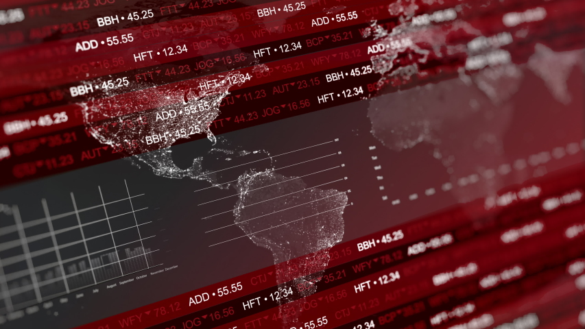 Stock markets crashing down on red background. Concept of financial stagnation, crash, recession, crisis, business crash and economic collapse. Downward trend 3d animation. Royalty-Free Stock Footage #1048636627