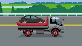 Animated video clip . Tow truck with a car driving on the highway