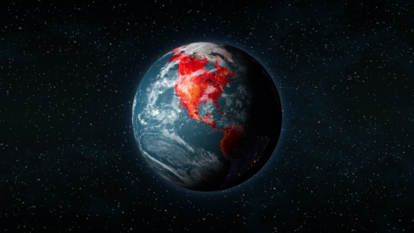 Planet Earth, seen from space, as red blotches start covering the entire globe, like a pandemic virus outbreak such as the coronavirus disease (COVID-19). | Shutterstock HD Video #1048664080