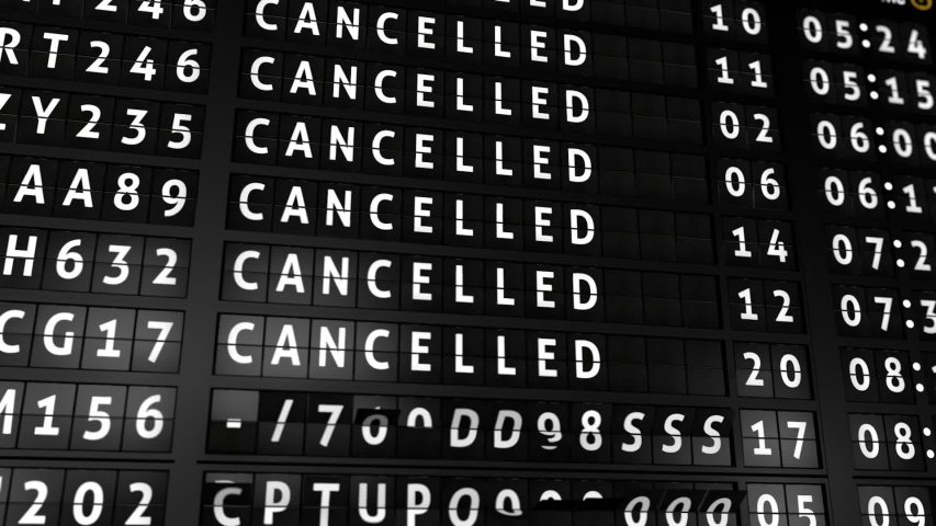 3D generated animation, analog flight information display board with all flights cancelled due to coronavirus | Shutterstock HD Video #1048685893