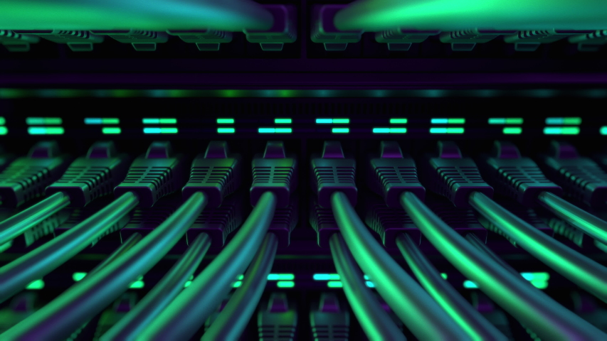Close-up View of Modern Internet Network Switch With Plugged Ethernet Cables. Blinking Lights on Internet Server. Concept of Data Center, Cloud Computing and Telecommunications. Endless Loop.  Royalty-Free Stock Footage #1048750870