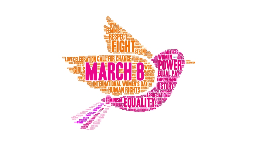 March 8 International Women's Day word cloud on a white background. Royalty-Free Stock Footage #1048755004